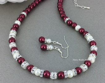 Burgundy Necklace Jewelry Set Burgundy Jewelry Gift for Her Christmas Party Gift Bridesmaid Gift for Mother Wedding Jewelry Custom Jewelry