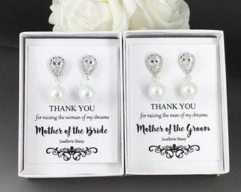 Set of 2 Earrings Mother of the Bride Gift Crystal Earrings Mother of the Groom Gift Pearl Earrings Dangle Earrings Mother in Law Wedding
