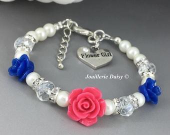 Royal Blue Flower Girl Jewelry Flower Girl Gift Flower Girl Bracelet Hot Pink and Royal Blue Flower Bracelet Flower Girl Gift Idea Wedding