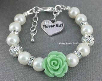 Seafoam Flower Girl Bracelet Flower Girl Jewelry Flower Girl Gift for Her Pearl Bracelet Charm Bracelet Girl's Jewelry Wedding Jewelry FG101