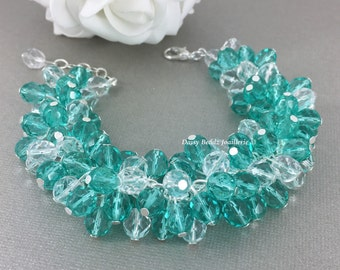 Teal Bracelet Crystal Cluster Bracelet Bridal Bracelet Chunky Bridesmaid Jewelry Destination Wedding Aqua Teal Jewelry Gift for Her