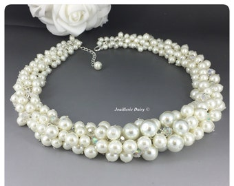 Bridal Jewelry Ivory Cluster Necklace Chunky Necklace Bridal Necklace Statement Jewelry Bridal Necklace Gift for Her Wedding Necklace