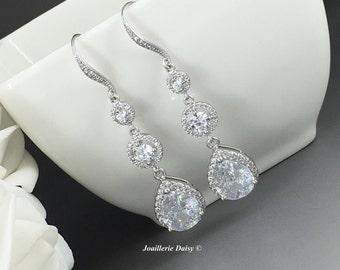 Long Crystal Earrings Cubic Zirconia Earrings Bridal Jewelry Gift for Bride Wedding Earrings Bridal Earrings Dangle Earrings Crystal Drop