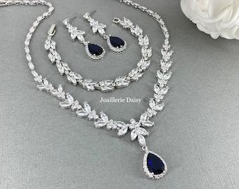 Bridal Necklace Set, Something Blue for Bride, Wedding Jewelry Set, Dark Blue Teardrop Necklace Set, Jewelry for Bride, Bridesmaids Jewelry