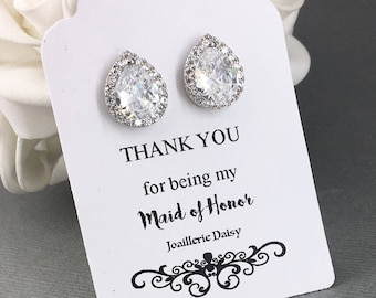 Maid of Honor Gift Stud Earrings Cubic Zirconia Earrings Crystal Bridal Party Jewelry Gift for Maid of Honor Jewelry Gift Idea Wedding