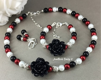 Flower Girl Jewelry Set Gift for Flower Girl Necklace Christmas Jewelry Flower Bracelet Red and Black Necklace Wedding Jewelry