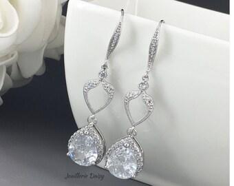 Long Cubic Zirconia Earrings Bridal Earring Dangle Earrings Wedding Earrings Bridal Jewelry Gift for Her Statement Earrings Crystal Earrings