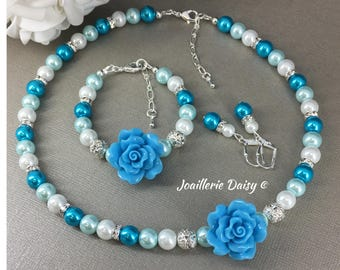 Destination Wedding Flower Girl Jewelry Set Gift for Her Flower Girl Necklace Shades of Blue Jewelry Flower Bracelet Turquoise Necklace
