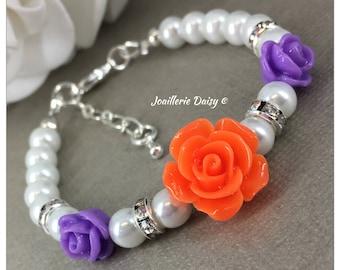 Flower Girl Gift for Flower Girl Bracelet Purple and Orange Flower Girl Jewelry  Pearl Bracelet Jewelry Charm Bracelet Wedding Jewelry