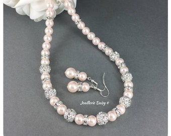 Maid of honor gift Rose gold and pearl Jewelry set Wedding jewelry Rose gold calla jewelry Bridesmaid rose gold jewelry calla jewelry