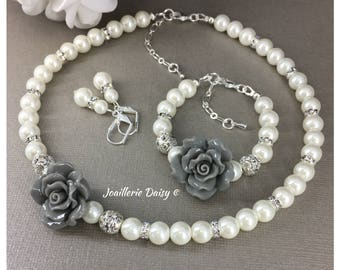Flower Girl Gift Grey Flower Jewelry Flower Girl Jewelry Set Flower Girl Necklace Bracelet Gift for Her Ivory Pearl Necklace Wedding Gifts