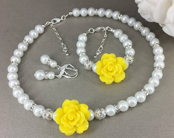 Flower Girl Jewelry Set Yellow Flower Necklace Bracelet Gift for Flower Girl White Pearl Necklace Wedding Jewelry Gift Idea
