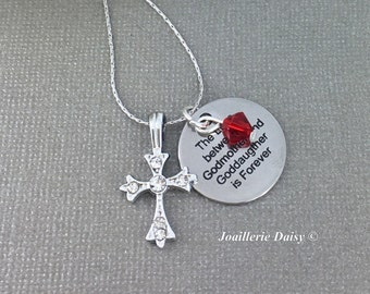 Gift for Godmother Godmother Necklace Godmother Gift First Communion Cross Necklace Baptism Gift