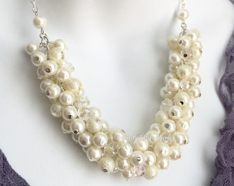 Ivory Cluster Necklace Bridal Necklace Ivory Pearl Necklace Chunky Necklace Earrings Ivory Necklace