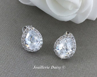 Cubic Zirconia Stud Earrings Teardrop Earrings Bridesmaid Wedding Jewelry Sterling Silver Earrings Bridal Party Jewelry Gift for Her