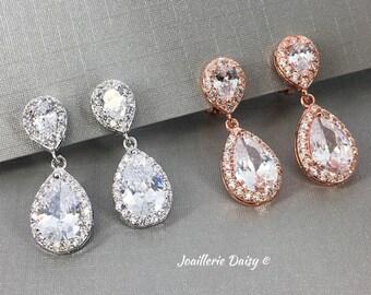 a72b99950 Rose Gold Clip on Bridal Wedding, Clipon Earrings, Non Pierced Earrings,  Bridesmaid Gift, Bride Earrings, Cubic Zirconia Earrings