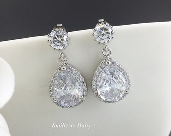 Cubic Zirconia Wedding Earrings Dangle Earrings Bridal Jewelry Bridesmaid Gift Maid of Honor Gift for Her Matron of Honor Gift for Mothers