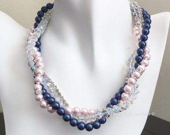 Navy and Pink Necklace Bridal Necklace Multistrand Pearl Necklace Statement Necklace Navy Necklace Bridesmaid Gift for Her Mother of Groom