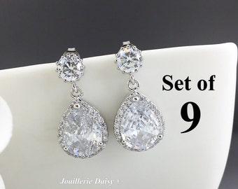 Set of 9 Wedding Earrings Dangle Earrings Crystal Earrings Bridal Drop Earrings Gift for Her Cubic Zirconia Bridesmaid Earrings Wedding