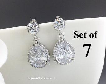 Set of 7 Earrings Dangle Earrings Bridesmaid Earrings Crystal Earrings Bridal Party Statement Earrings Gift for Her Cubic Zirconia Wedding