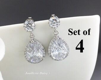 Set of 4 Bridesmaid Earrings Dangle Earrings Crystal Earrings Bridal Statement Earrings Gift for Her Cubic Zirconia Wedding Earrings