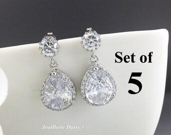 Set of 5 Wedding Earrings Dangle Earrings Bridesmaid Statement Earrings Bridesmaid Jewelry Gift for Her Cubic Zirconia Stud Earrings