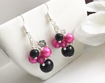 Bridesmaid Gift Hot Pink Earrings Fuchsia Earrings Fuchsia and Black Wedding Jewelry for Bridesmaid Earrings Jewelry Gift Idea for Women