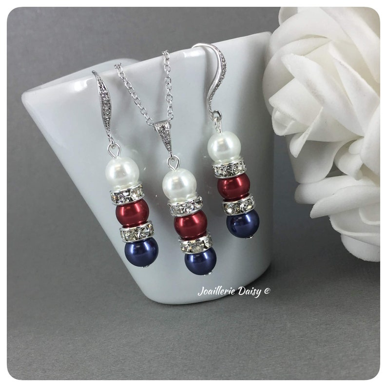 American Flag Jewelry Patriotic Gift Red White and Blue Necklace Set Patriotic Pearl Jewelry Independence Day July 4th USA Jewelry