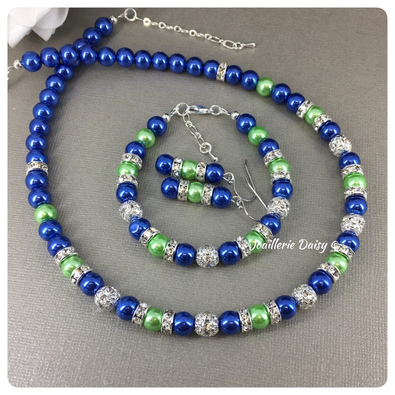 Gift for Her Royal Blue Pearl Jewelry Blue and Lime Necklace Set Bridesmaid Jewelry Gift Royal Blue Wedding Jewelry Bridal Party Gift