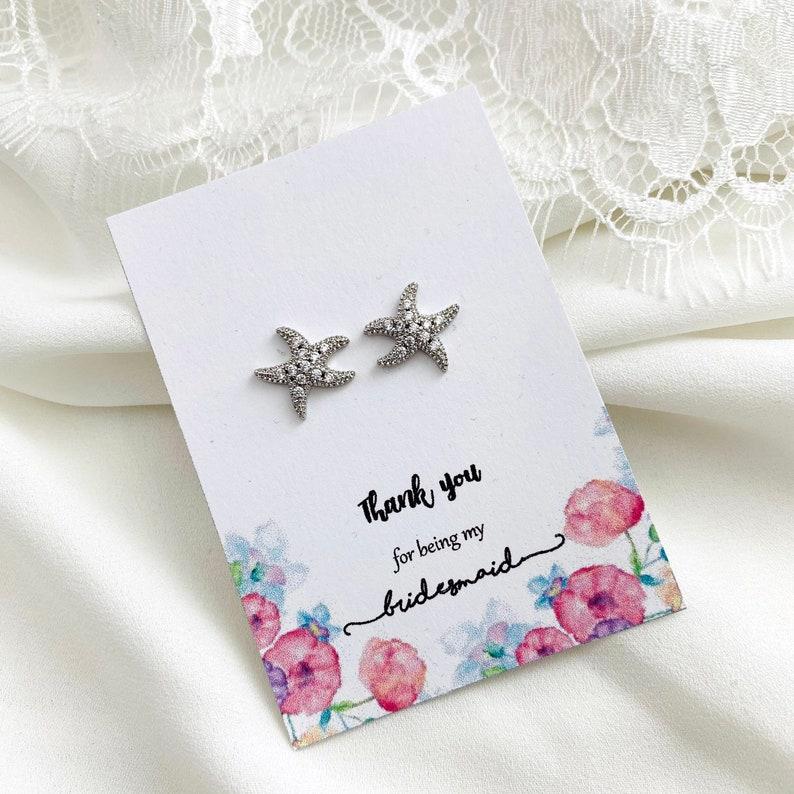 Bridal Party Gift Beach Wedding Star Fish Stud Earrings Small Starfish Earrings Summer Wedding Bridesmaids Earrings Maid of Honor Gift