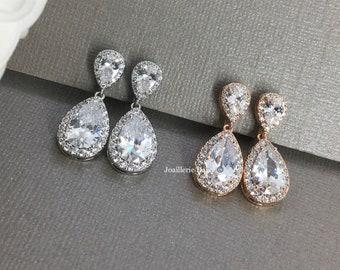 Rose Gold Clip on Bridal Wedding, Teardrop Clipon Earrings, Non Pierced Earrings, Bridesmaid Gift, Bride Earrings, Cubic Zirconia Earrings