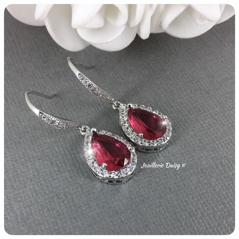 Bridesmaids Jewelry Gifts for Mom Teardrop Crystal Necklace Red Crystal Christmas Jewelry Xmas Party Necklace Set Bridal Party Jewelry