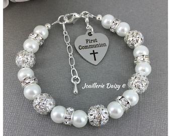 First Communion Bracelet, Gift for Goddaughter, Charm Bracelet, First Communion Jewelry, Gift from Godfather, Gift from Godmother
