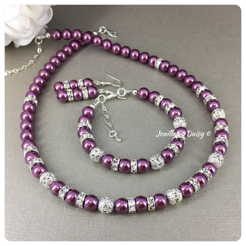 Prom Jewelry Gift for Bridal Party Wine Maid of Honor Gift Bridesmaid Purple Necklace Set Plum Pearl Bracelet Purple Wedding Jewelry