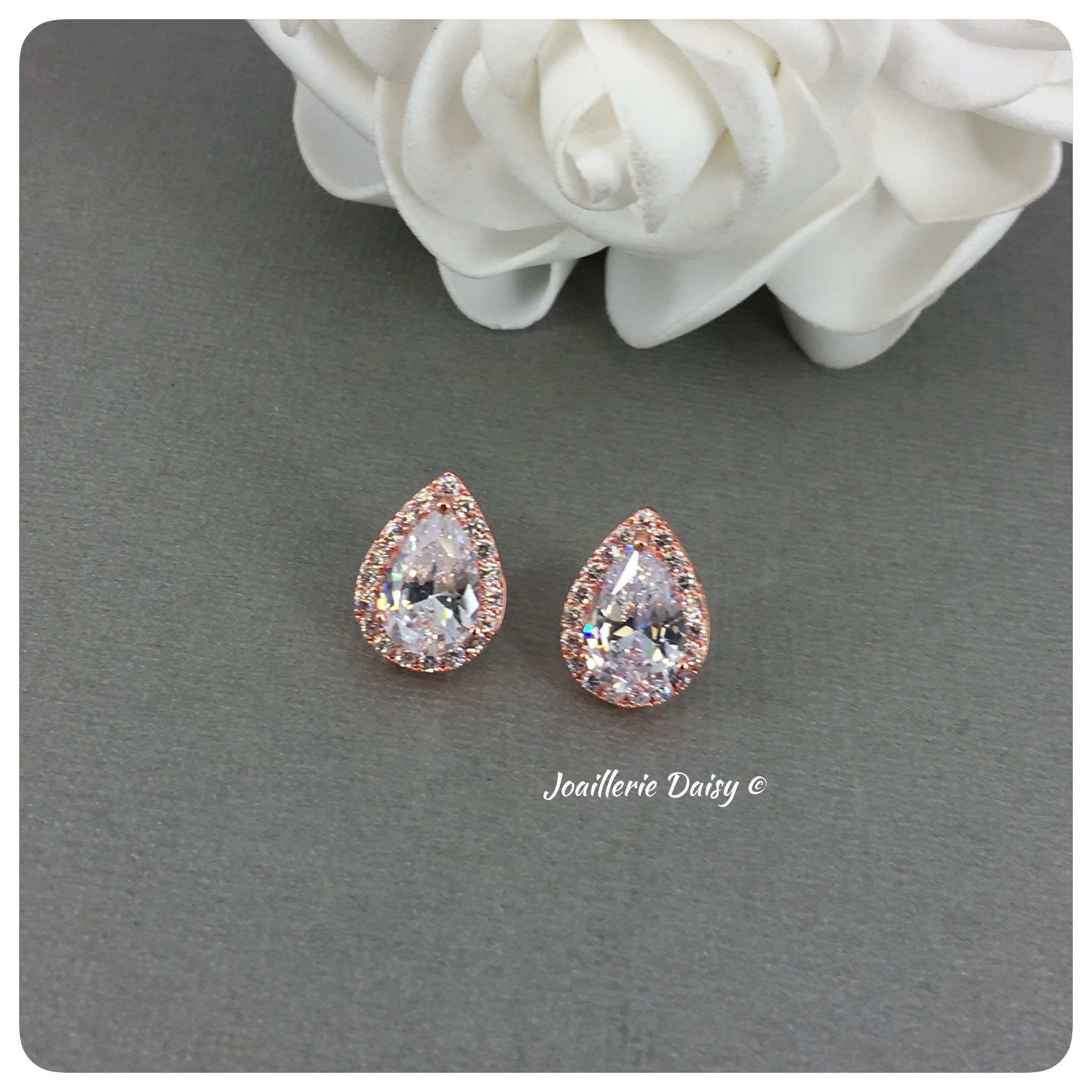 Wedding Bride Earrings Maid of Honor Gift Rose Gold Earrings Floral Cubic Zirconia Earrings White Crystal Earrings Bridesmaid Gift