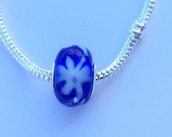 Pandora Style Glass Bead | Sapphire and White Flower