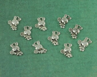 Silver 3 Dimensional Adorable Tennis Bunny Charms - Package of 10