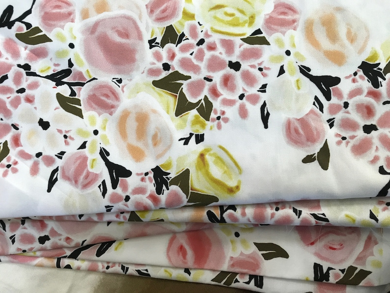 Rose Quartz & Ochre Spring Floral Upholstery Fabric by the image 0
