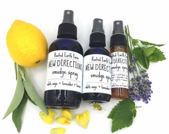 Crystal Infused Sage Smudge, New Directions Smudge Spray, Lavender Spray, Lemon Lavender, Sage Spray, Liquid Smudge, Aromatherapy Spray
