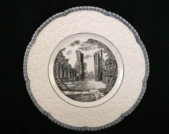 ROYAL CAULDON GLASTONBURY Abbey Dinner Plate - Royal Cauldon Decorator Plate - Glastonbury Abbey Large Plate