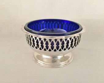 JOHN BIGGIN APEX Silverplate Condiment Dish - Cobalt Blue Glass Insert - Pierced Ornate Silverplate Pedestal Dish