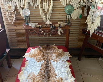 Caramel and cream colour mandala Handcarved goat skin