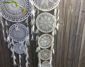 5 tier off white crochet dream catcher