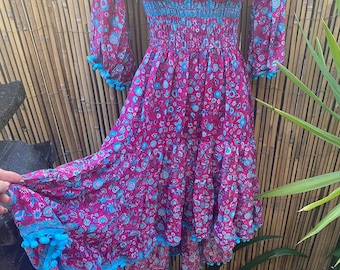 Pink and turquoise gypsy Ibiza dress