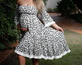 Leopard print boho dress