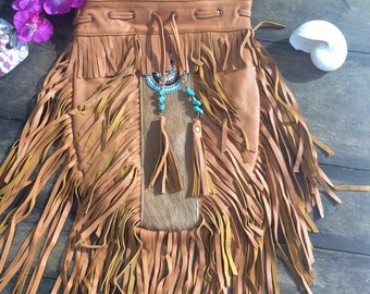 Tan cowhide fringe bag
