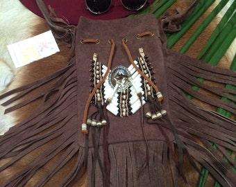 Brown suede fringe festival bag
