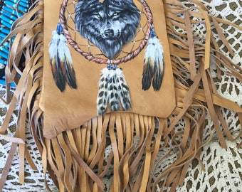 Leather hand painted fringe bags