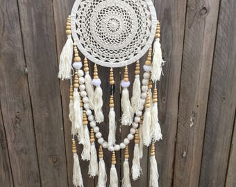 Long tassle dream catcher  cream
