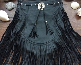 Black boho fringe bag